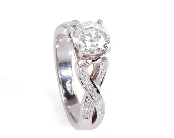 1.5 carat Diamond Ring-14K White Diamond Ring-Engagement Ring-White Gold Ring-infinity ring-promise ring-multistone ring-anniversary gift