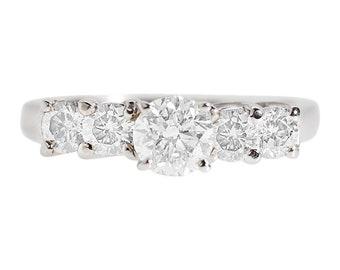 Celtic diamond engagement ring 1.20 carat-14K White Gold Ring-Eternity band-Multistone ring-Promise ring-Anniversary ring-Art deco ring