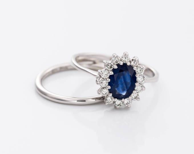 Bridal set Sapphire ring -Blue Sapphire 1ct -Engagement Ring-wedding band set-Wedding ring set-Promise ring-Multistone ring-Vintage set