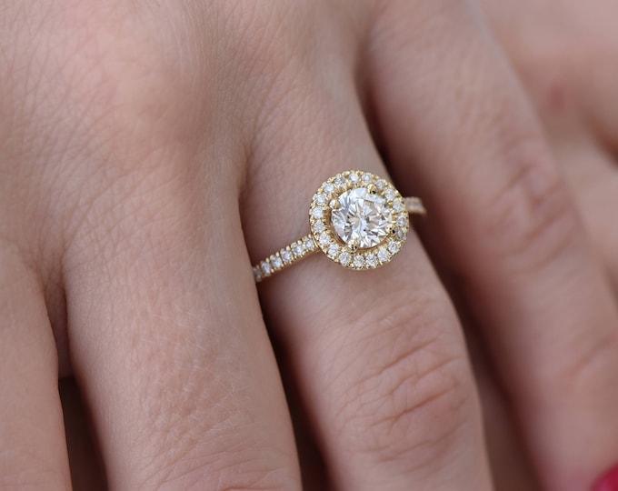 Halo diamond engagement ring-1 carat Diamond ring-Yellow gold ring-Promise ring-Art deco ring-FREE SHIPPING