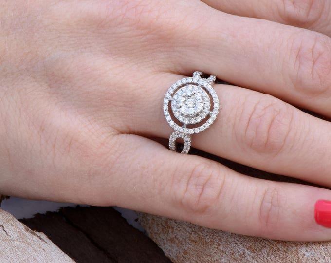 Cluster engagement ring-Diamond Engagement Ring-White Gold Ring-Halo engagement ring-Promise ring-Bridal ring-Art deco engagement ring
