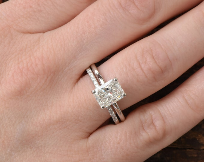 Emerald cut wedding set-Bridal set rings white gold-2 carat wedding set-Halo diamond engagement wedding sets-Promise ring-FREE SHIPPING