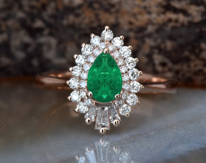 Emerald engagement ring set rose gold 14K/18K-Diamond vintage ring-Rose gold-Promise ring-Pear shaped emerald-Art deco ring-Custom Rings