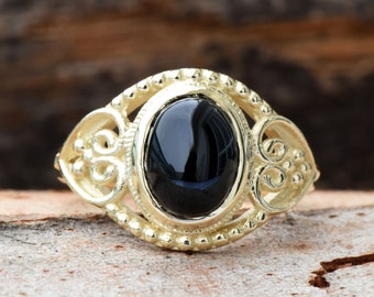 Black onyx ring-Statement Rings-Onyx ring vintage-Gold Ring-Women Jewelry-For her-Holidays gift-FREE SHIPPING-Fashion ring-Onyx ring men