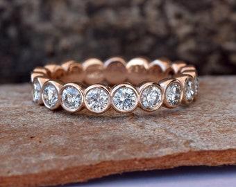 Diamond Eternity Wedding Band-Rose gold wedding band-Diamond Band- Half-Eternity Ring-Minimalist ring-FREE SHIPPING-Anillo de bodas