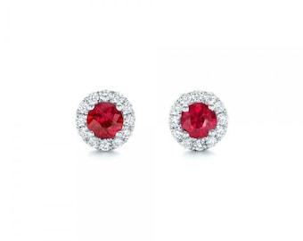 Ruby diamond earring-Halo Ruby earrings-White Gold Earring-Stud Earrings-Gift for her-Red Ruby-Halo stud earrings-Cluster stud earrings