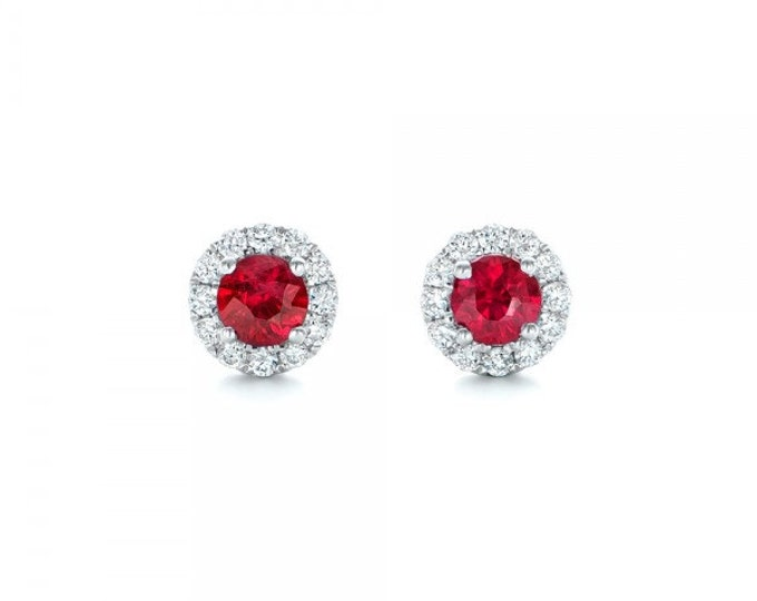 Ruby diamond earring-Halo Ruby earrings-White Gold Earring-Stud Earrings-Gift for her-Red Ruby-Halo stud earrings-Cluster stud earrings