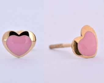 Heart stud earrings-Tiny Baby girl Earrings-Birthday gift-Holidays gifts-Graduation gift-FREE SHIPPING-Enamel earrings-Child's jewelry