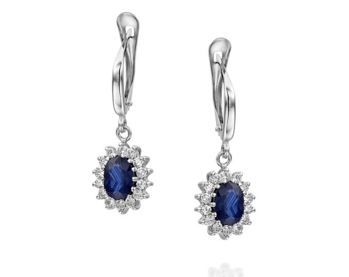 Cluster earrings-Blue Sapphire Earrings-Diamond Earrings with Sapphire-Sapphire Drop Earrings-Women's Jewelry-Vintage earrings-Gift for her