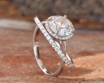 Halo diamond engagement wedding sets-Bridal set rings white gold-14K white Gold-Promise ring-diamond engagement ring