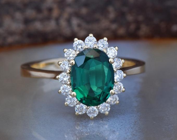 2 carat Green Emerald Engagement Ring-Diamond ring with Emerald-Green Emerald-Oval cut engagement ring-Diana Ring-Lab Emerald Ring