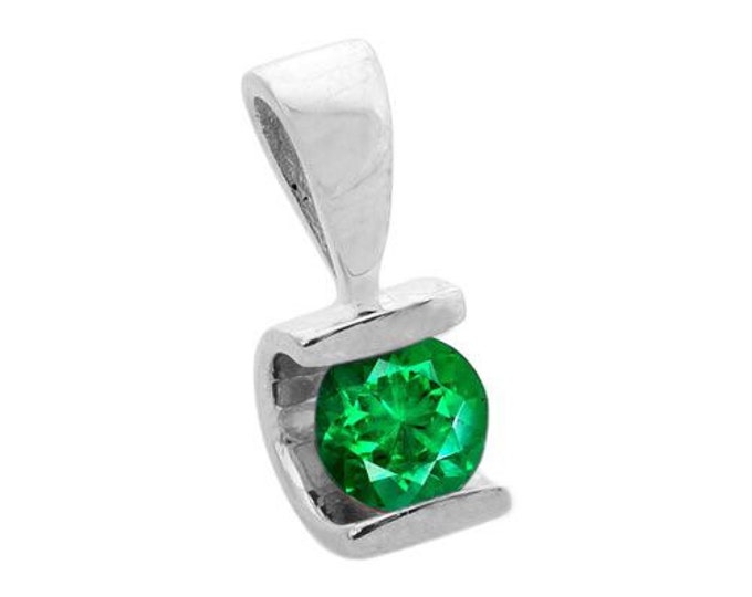 0.60 ct Emerald Pendant-Emerald necklace-White Gold Pendant 14K-genuine emerald necklace-Women Jewelry-for here-gift ideas-Birthday pendant