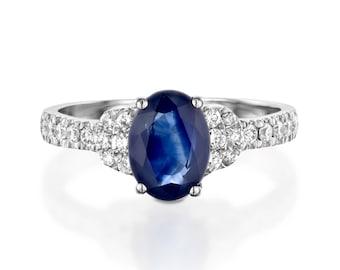1 carat Blue Sapphire Diamond Engagement Ring -White Gold Ring-Sapphire  Engagement Ring -Anniversary present-Promised ring-Sapphire ring
