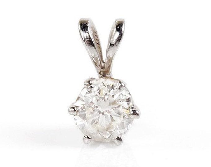 Diamond Pendant 0.30 Carats-White Gold Necklace 14K-Art deco necklace-Women Jewelry-For her-Anniversary gift-Graduation present-Halo pendant