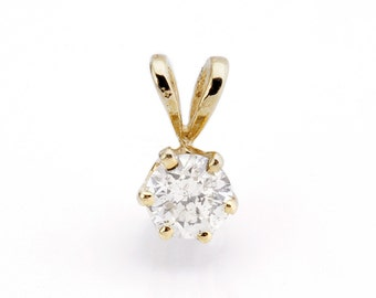 Diamond Pendant 0.40 Carats-Yellow Gold Pendant 14K-Gold Diamond Pendant-Women Jewelry-For her-Anniversary gift-Birthday present-graduation