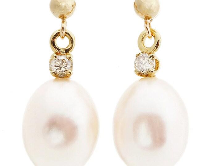 Art deco-Pearl earrings studs-Pearl earrings bridesmaid-Pearl diamond earrings-Pearl jewelry-Bridal earrings-Xmas gift-Birthday gift