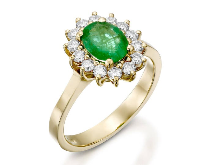 Oval engagement ring-1 carat Green Emerald Engagement Ring-Diamond ring with Emerald-Green Emerald-Yellow Gold Ring-Diana Ring-Emerald Ring