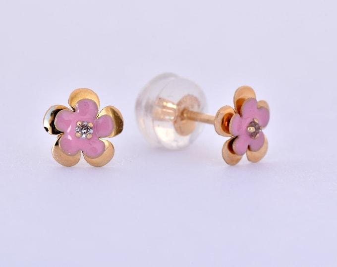 Child's jewelry-Flowers stud earrings -bff gifts for kids-Enamel earrings-Birthday gift-Baby earrings-Graduation gift-FREE SHIPPING
