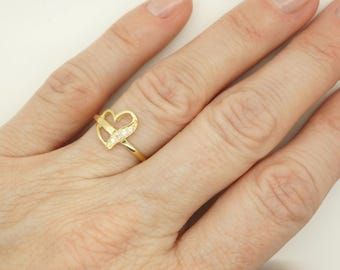 Minimalist ring-Art deco Ring-Engagement Ring-Heart ring-14K Yellow Gold Ring-Love ring-Heart engagement ring-Promise ring-Birthday gift