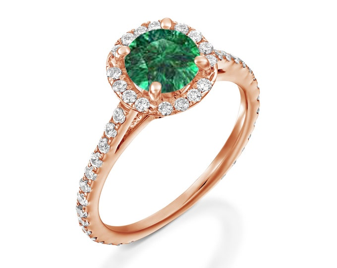 Emerald halo engagement ring-Rose Gold Ring-Emerald engagement Ring- Bridal Jewelry-Art deco engagement ring-Promise ring-FREE SHIPPING