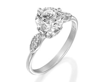 1 carat Moissanite engagement ring-Custom jewelry ring-Cluster engagement ring-Promise ring-Bridal ring-Art deco engagement ring-Her Gift