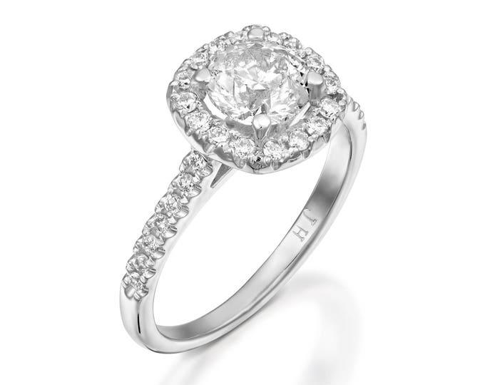 Moissanite engagement ring-Art deco engagement ring-Halo Engagement Ring-White Gold Ring-Charles & Colvard Moissanite Ring -Custom Ring