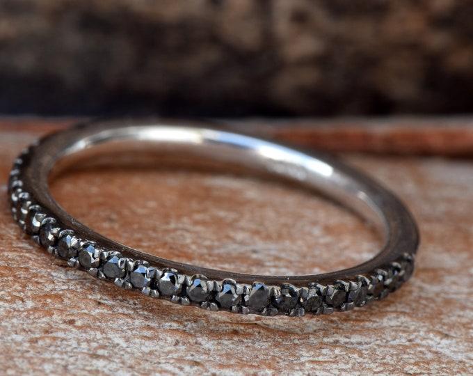 Black diamonds Eternity Wedding Band-Half-Eternity Ring- Black rhodium ring