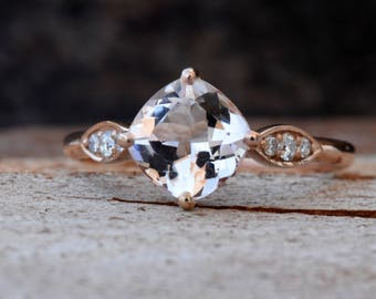 Morganite engagement ring rose gold-Rose gold engagement ring-Diamond vintage ring-Morganite ring-Promise ring-Art deco ring-Custom Rings