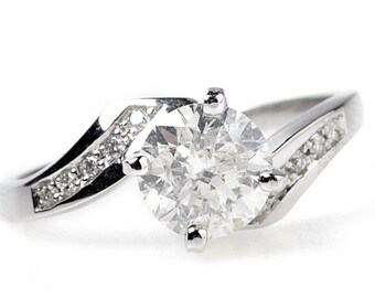 1 carat diamond Engagement Ring-White Gold Ring-Engagement Ring-Promise ring-Art deco diamond engagement ring- Anniversary Gift-For her