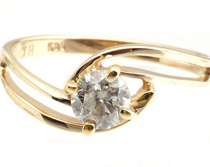 Promise ring-Engagement Ring-Art nouveau diamond ring 0.30ct-Diamond Engagement Ring-Gold Ring-Solitaire ring-Gift for her-Cluster ring