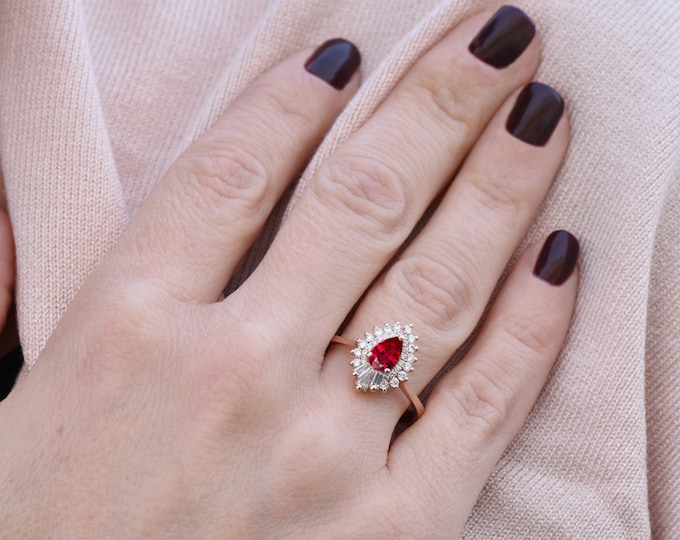Pear Cut Ruby Engagement Ring- Rose gold engagement ring-Ruby engagement ring rose gold