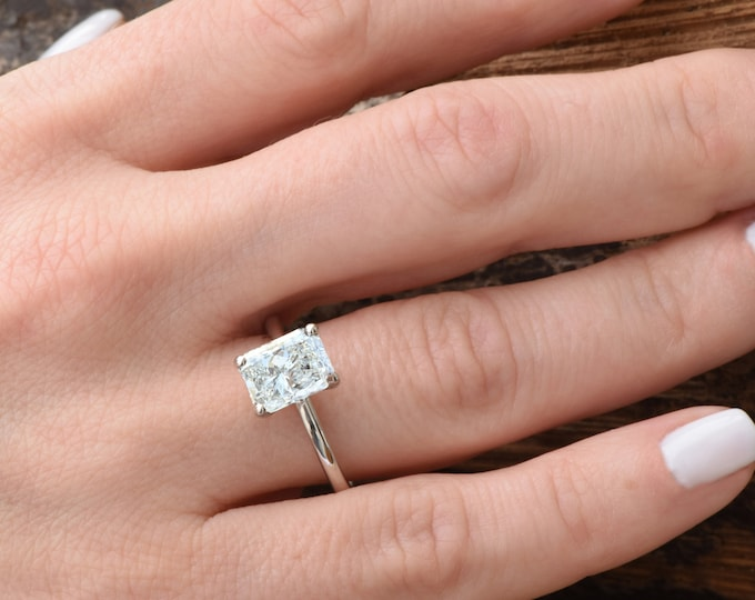 Featured listing image: Emerald cut diamond engagement ring-Solitaire ring 1.90 carat-Diamond Engagement Ring-Gold Ring-Promise ring-Art deco ring-Custom Ring