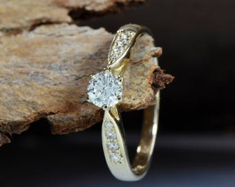 Art deco Engagement Diamond Ring 0.40 carat-Solitaire ring-Yellow Gold Ring-Women Jewelry-Promise ring-For her-Holidays gift-FREE SHIPPING
