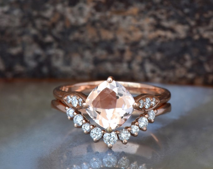 Wedding sets women rings-Rose gold Morganite Cluster wedding ring set-Gold ring-Promise ring-Morganite wedding set-Morganite halo ring