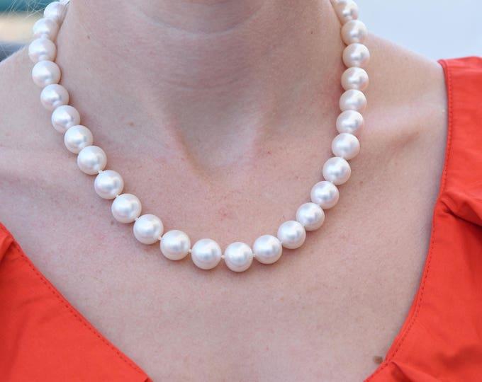 Freshwater Pearl Necklace-Wedding Jewelry-Bridal Jewelry-Anniversary gift-Birthday present-Mothers necklace-Mothers jewelry-10mm pearl