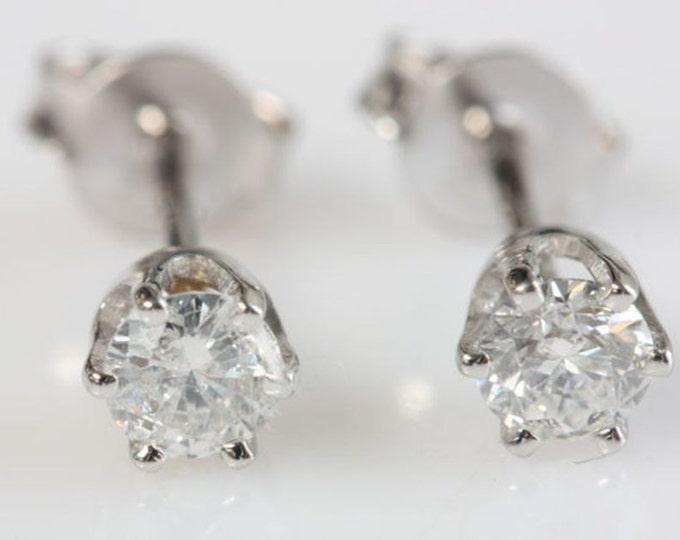 Diamond Gold Earrings-14K White Gold Earrings-Stud Earrings-girls earrings-Baby earrings-For him-Anniversary gift-Graduation gift-For her