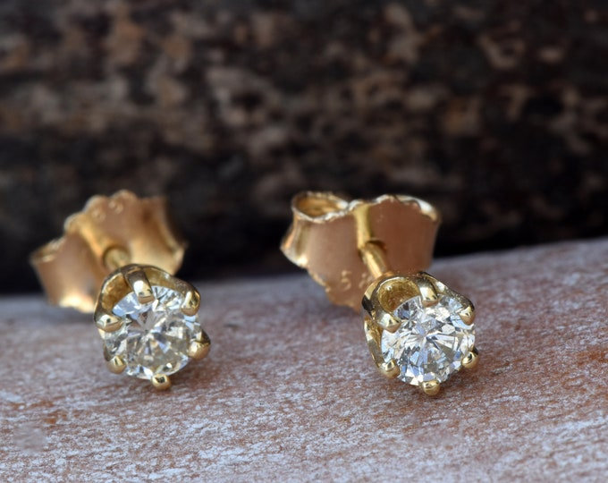 Diamond stud Earrings-Gold Earrings-Baby earring-Girls earrings-Earrings for him-Gift For her-Art deco earrings-For him-Yellow gold earrings