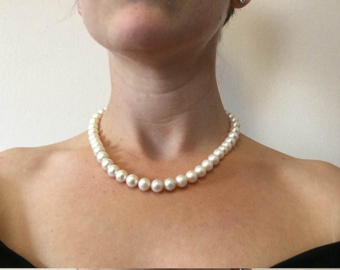 Wedding Freshwater Pearl Necklace-Wedding Jewelry-Bridal Jewelry-Anniversary gift-Birthday present-Mothers necklace-Mothers jewelry-for her