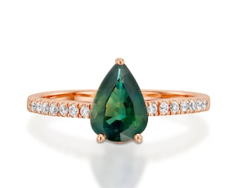 Tourmaline engagement ring- Green Tourmaline diamond ring