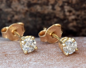 Graduation gift for her-Diamond stud Earrings-Gold Earrings-Hypoallergenic earrings-Art deco earrings-For him-Gold earrings-FREE SHIPPING