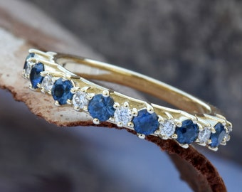 Sapphire eternity band-Blue sapphire engagement ring-Blue sapphire band-14K Yellow Gold Ring-Women Jewelry-Anniversary ring-Multistones ring