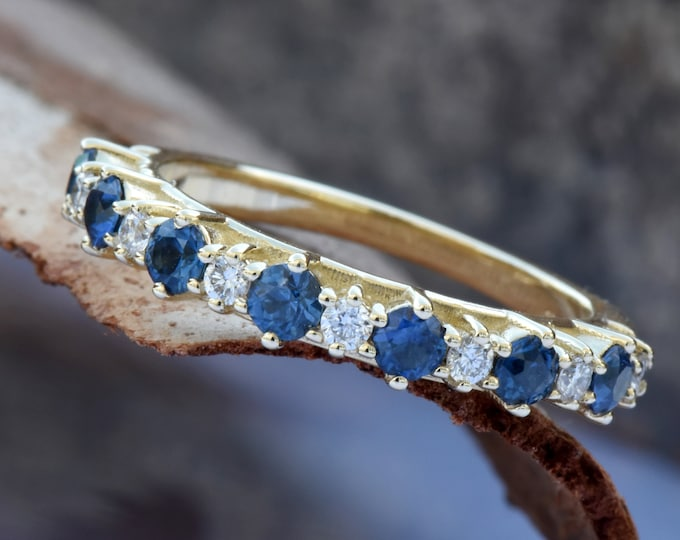 Sapphire eternity band-Blue sapphire engagement ring-Blue sapphire band-14K Yellow Gold Ring-Women Jewelry-Anniversary ring-Multistones ring