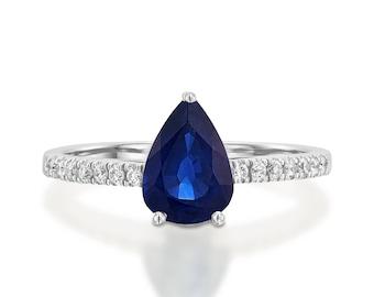Blue Sapphire Diamond Engagement Ring -White Gold Ring-Sapphire Engagement Ring -Pear shaped sapphire-Promised ring-Blue Sapphire ring