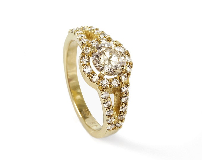 Diamond Ring 1.50 ct- Engagement ring -Cluster engagement ring-Promised ring-Bridal Jeweler-Wedding & Engagement-Anniversary ring-For her