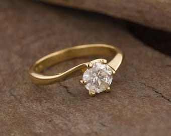 1carat Solitaire engagement ring-ON SALE!-Solitaire ring-Yellow gold ring-Women Jewelry-Promise ring-Bridal Jewelry-Art deco engagement ring