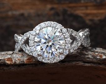Celtic knot ring-Celtic engagement ring-2 carat Moissanite halo Engagement Ring-Promise ring-Custom Ring