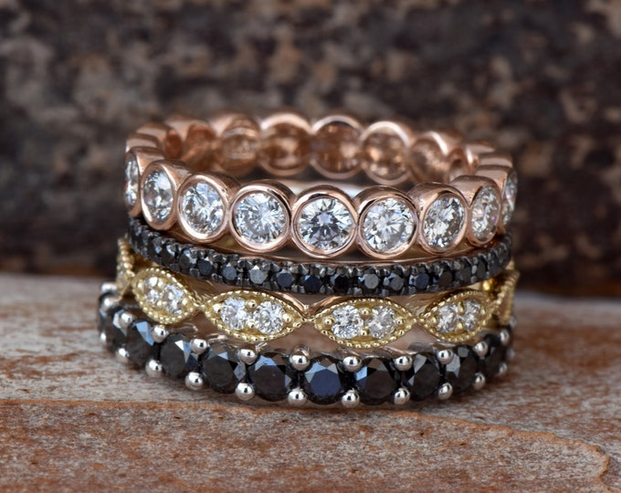Black diamond wedding band-Stackable wedding band with diamonds- Diamond Eternity Ring-Art Deco Diamond Wedding Band