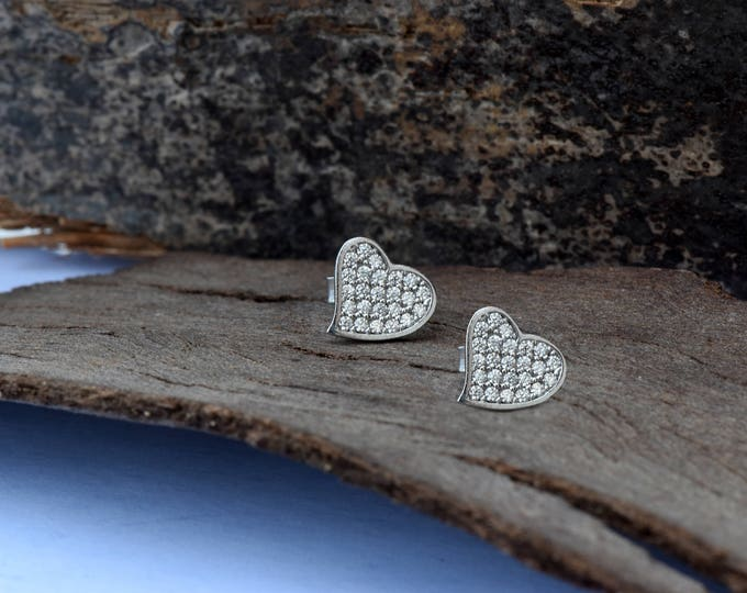 Tiny Stud Earrings-White Gold Earrings-Stud Earrings-Zircon earrings-Birthday present-Holidays gifts-Gift for her-Minimal Stud Earrings-Gold