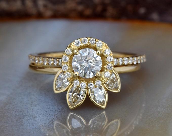 Wedding sets women rings-Halo diamond engagement wedding sets 1.45 ct-Diamond wedding set-FREE SHIPPING-Marquise wedding band