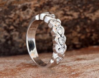 Eternity wedding band-Heart ring-Diamond heart ring-1/2 carat Gold wedding band-Art deco ring-Diamond heart wedding band-For her-Gold ring